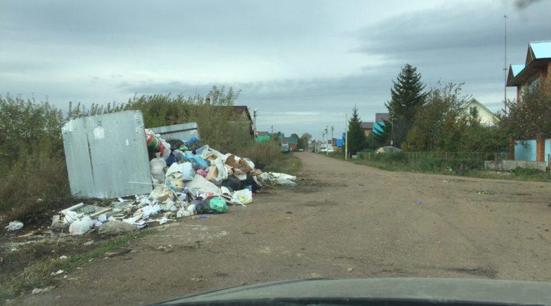 Мусор на улице Мира в Нагаево