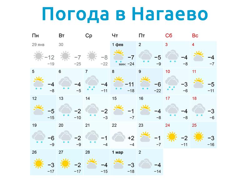 Погода в Нагаево в феврале