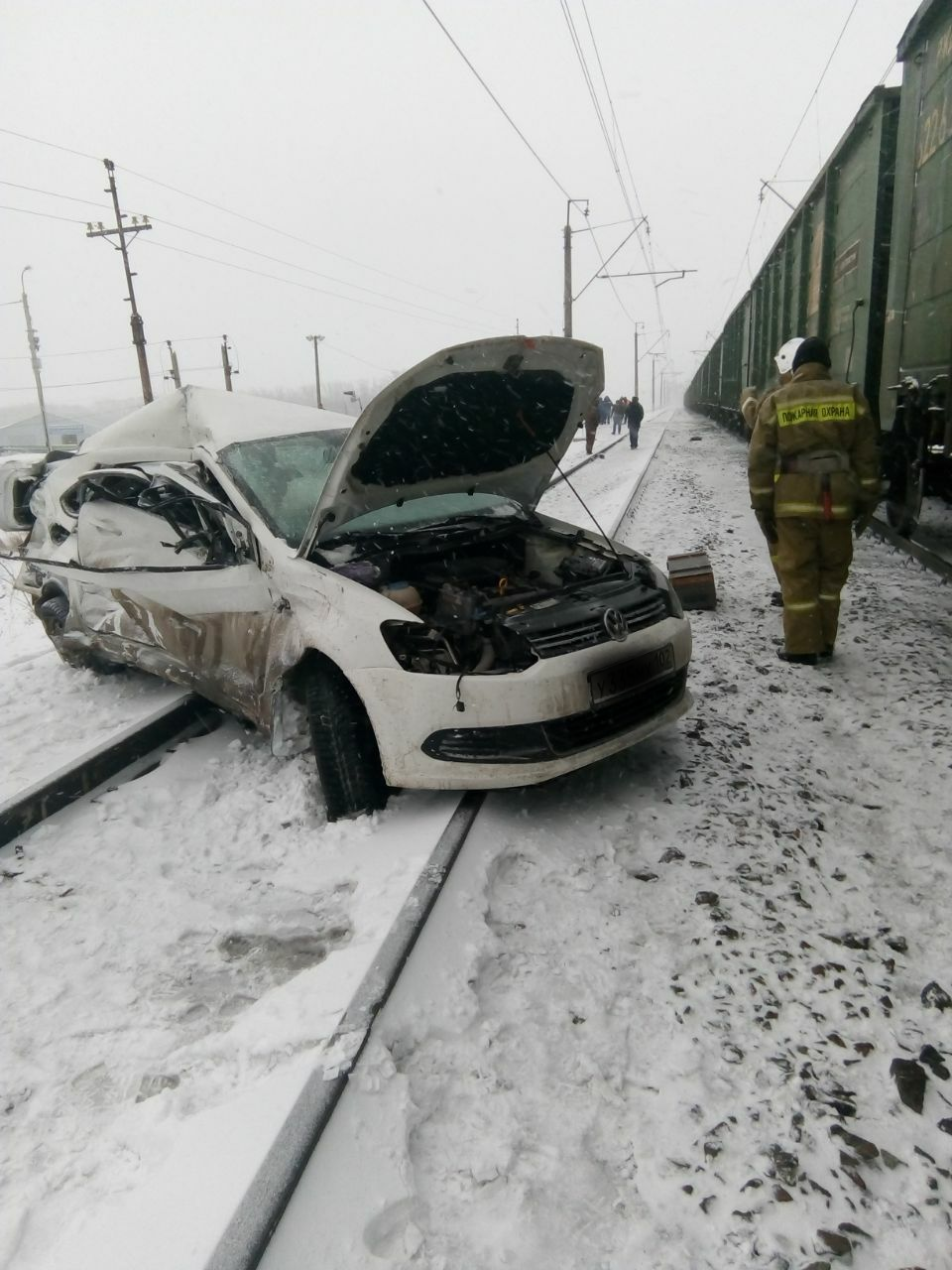 Авария на переезде в Зинино Volkswagen Polo